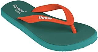 fipper Rubber Thongs, Style: Wide, UK 6 to 12 / US 7 to 13, Length 24.5cm to 31.5 (UK 8 / US 9, EmeraldGreen/Turquoise/Ora...