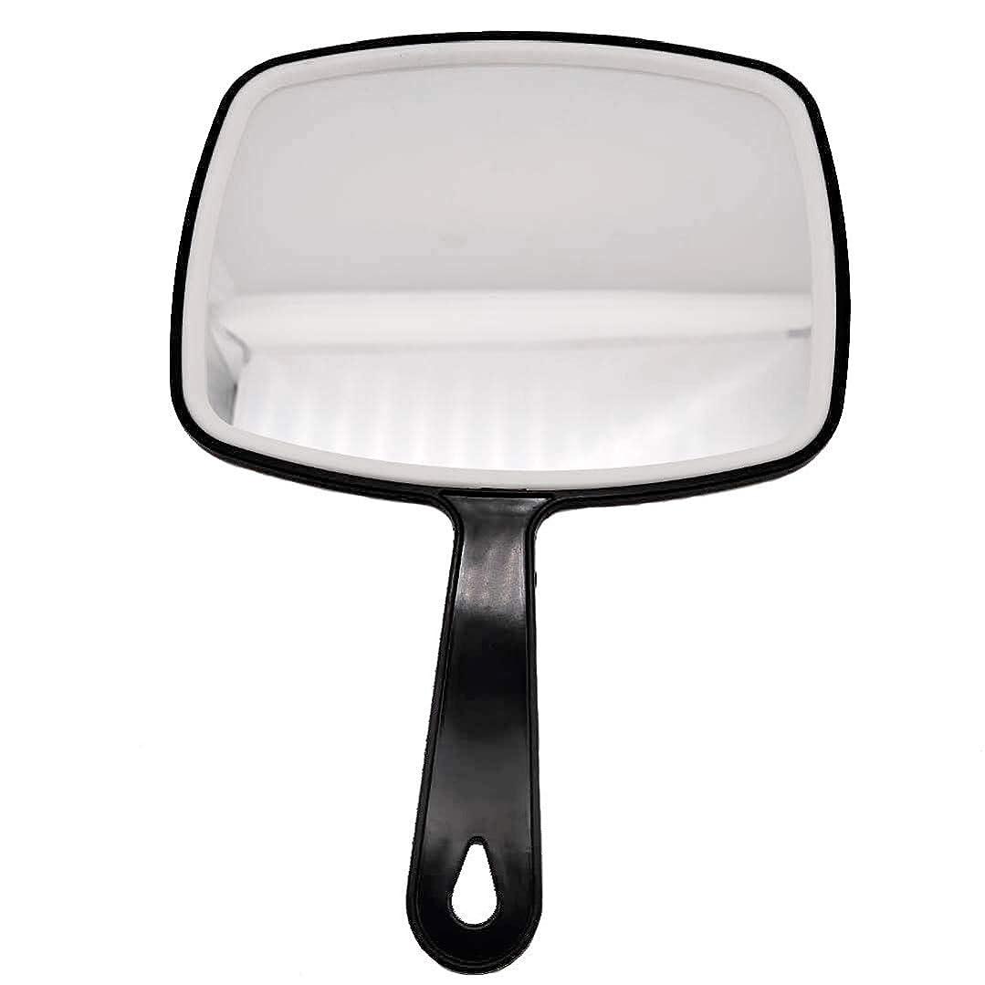 塩仮装誠実理髪ハンドミラー、ABSフレームメイクアップミラー、バスルームとベッドルーム用ミラー、床屋ヘアカットミラー (黒-1個)