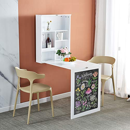 Folding Wall-Mounted Table, Living Room Drop Leaf Table with Storage Shelves, Space Saving Floating Dining Table with Chalkboard Shelf, Hanging Computer Laptop Desk Workstation for Home Office