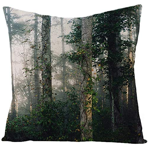 KnBoB Funda de Almohada Verde Bosque 45 x 45 cm Lino Estilo 8