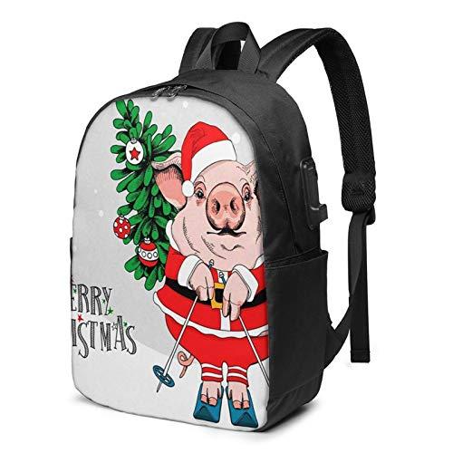 Mochila Portatil 17 Pulgadas Mochila Hombre Mujer con Puerto USB, Disfraz de Cerdo Santa Rojo Mochila para El Laptop para Ordenador del Trabajo Viaje