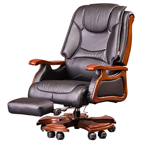 ATO ROMX Chefsessel Bürostuhl Echtleder Ergonomischer Schreibtischstuhl 360°drehbar Computerstuhl Höhenverstellbar Drehstuhl Mit Fußstütze, Verstellbare Kippwinkel,Top Rindsleder