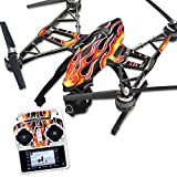 MightySkins Skin Compatible with Yuneec Q500 & Q500+ Quadcopter Drone wrap Cover Sticker Skins Hot Flames