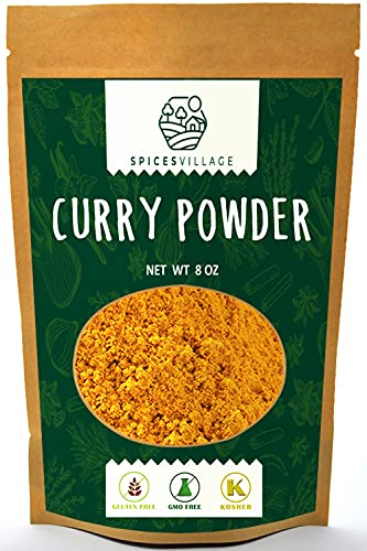 Spices Village Yellow Indian Curry Powder, Kosher Certified, Spicy Curry Blend for Seasoning or Cooking, All Natural Medium Madras Curry Mix, Gluten Free, Non GMO, Salt Free, Resealable Bulk Bag 8 oz