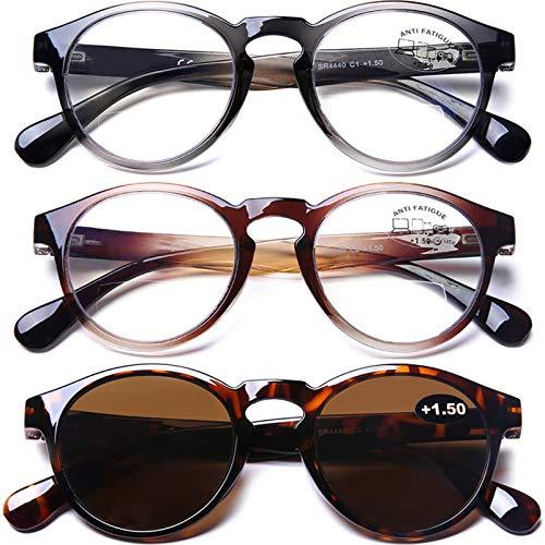 3 Pack Bifocal Computer Reading Glasses Blue Light Blocking Readers Sunglasses for Men Women, 2.0