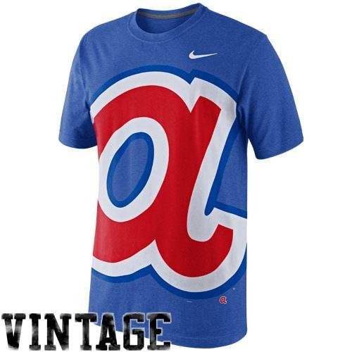 NIKE Atlanta Braves Cooperstown Collection Balt Tri-Blend T-Shirt - Royal Blue (XX-Large)