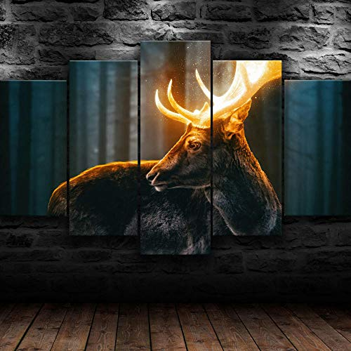 IIIUHU Prints On Canvas 5 Pieces Canvas Wall Art Canvas Painting Modern Wall Home Living Room Decor Creative Gift Wooden Frame Magical Forest Reindeer Nature HD Print Poster