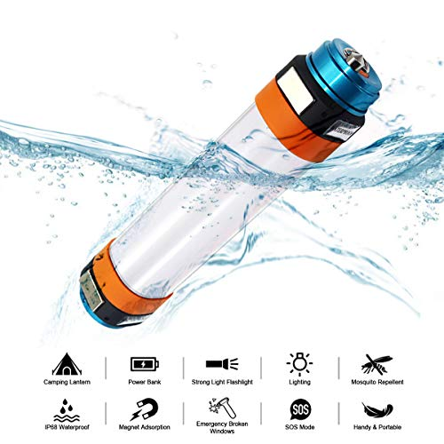 Fonrest Waterdichte campingzaklamp, draagbaar, magnetisch, led, lichtgewicht tent, cilinder lamp bar als flash/powerbank/muggenafweer/SOS noodhamer