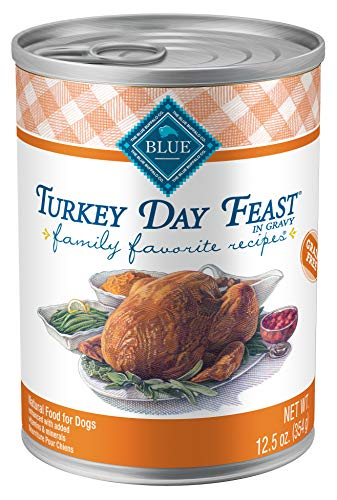 Blue Buffalo Family Favorites Natural Adult Wet Dog Food, Turkey Day Feast 12.5-oz can (Pack of 12)