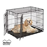 Dog Crate | MidWest ICrate 30 Inch Double Door Folding Metal Dog Crate...