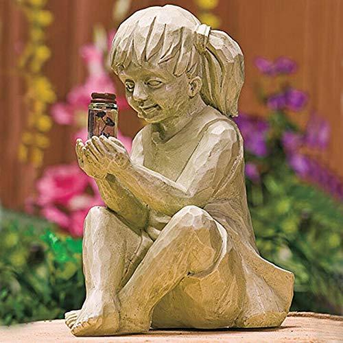 Tarro De LuciéRnaga Con Luz Solar - Estatua Para NiñO Y NiñA, Escultura Caprichosa De Resina Con Luz Solar Para NiñOs, Estatua De JardíN Para NiñOs,DecoracióN De Escultura Al Aire Libre Girl