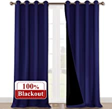NICETOWN 100% Blackout Curtains 108 inches Long, Noise Reduction Window Treatment Curtains, Thermal Insulated Energy Smart Drapes and Draperies for Apartment Decor, Dark Blue, Set of 2, 52 inches W