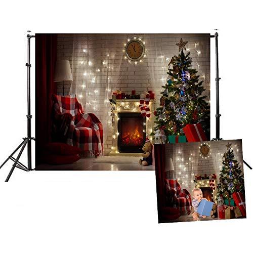 WQRYLJ Vinyl fotografie achtergrond, naadloos niet stikken kerstboom geschenken open haard stoelen thema achtergronden voor partij benodigdheden Studio Props foto achtergrond