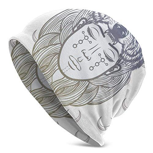 BGDFN Sombrero de Punto con ilustración de niña chamán, Gorro cálido, Gorro de Calavera con puños Suaves elásticos, Gorro Diario para Unisex Negro