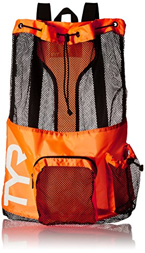 TYR Big Mesh Mummy Backpack For Wet Swimming, Gym, and Workout Gear , Orange