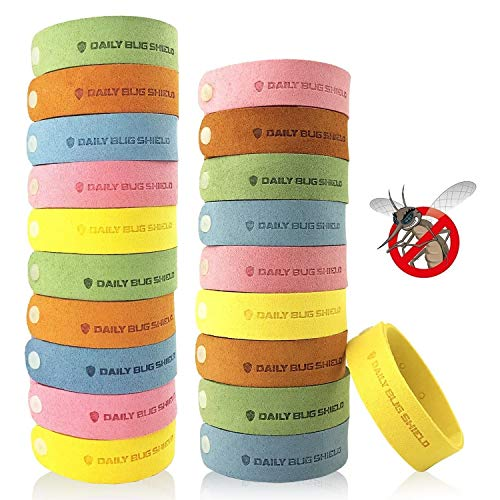 Mosquito Repellent Bracelet 20 Pack DEET-Free Insect Repellent Band Safe for Kids and Adults Waterproof Bug Repellent Wristband for Indoor and Outdoor Each Bracelet Protection UP to 72Hrs