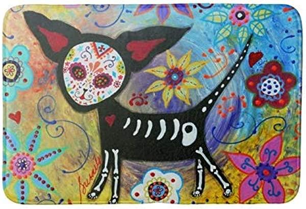 Yesstd Dia De Los Muertos Chihuahua By Prisarts Absorbent Super Cozy Bathroom Rug Doormat Welcome Mat Indoor Outdoor Bath Floor Rug Decor Art Print With Non Slip Backing 24 L X 16 W Inches