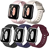 Zoye - Lote de 5 correas compatibles con Apple Watch de 38 mm, 42 mm, 40 mm, 44 mm, de silicona, compatibles con iWatch Series 6, 5, 4, 3, 2, 1, SE, Bleu Marine/Or Rose/Or/Noir/Vin Rouge, 42/44mm-M/L