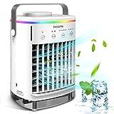 Mobile Klimaanlage, 4-in-1 USB Air Conditioner Verdunstungskühler Luftkühler Luftbefeuchter Kühlung Ventilator mit 7 Farben Nachtlicht, 4 Timer, 4 Lüfterstufen, Tragbare Klimageräte für Zimmer Büro