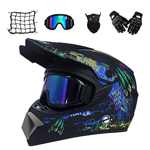 MRDEAR Crosshelm Herren, Adult Fullface Motocross Helm mit Motorrad Netz Brille Handschuhe Maske, Enduro MTB Offroad Helm Motorradhelm für Sport Sicherheit Schutz, Schwarz,M
