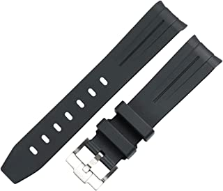MCXGL 20mm/21mm Curved End Rubber Watch Band Replacement for Rolex Submariner Strap GMT Yatch Master Daytona Watch Accessories