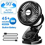 cavn stroller fan clip on, max 45 hours oscillating fan, 5000mah rechargeable battery portable