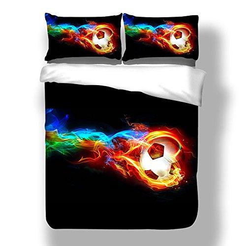 Parure de lit avec housse de couette et taie d'oreiller 3D Football Motif imprimé Noir Multicolore (200x200cm)
