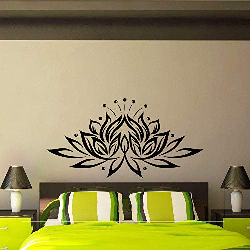 Lotus Flower Vinyl Wandaufkleber Kreatives Design Wandtattoos Für Wohnzimmer Schlafzimmer Hintergrund Dekor Kleber Decal Yoga-109X56Cm Schwarz