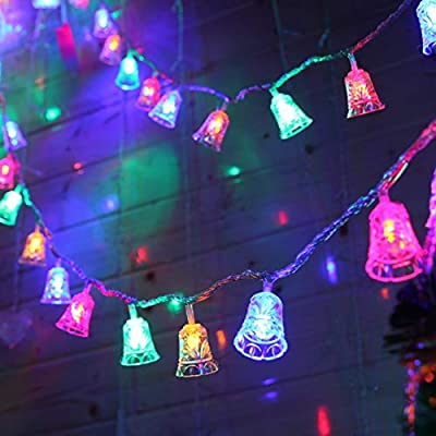 4.9ft Long 10 LED Christmas Bell Lights Outdoor Party Garden Decoration - Battery Operated Xmas Tree Decor Lamp - Outdoor Yard Lights Christmas (Multicolor)