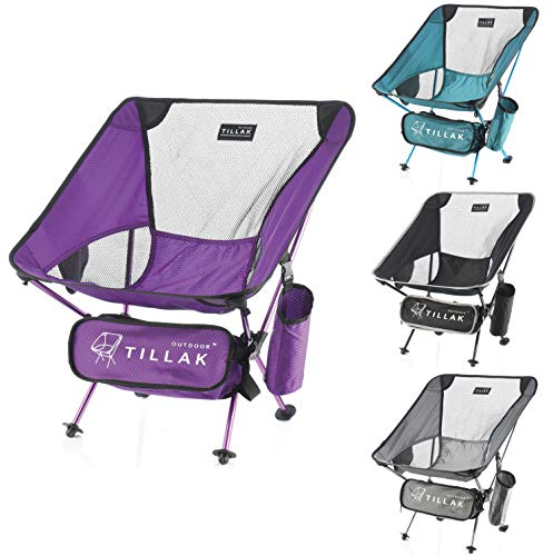 TILLAKOUTDOOR Ultralight Folding Camping Chair 250 Lbs Capacity Portable Compact Chair for Outdoor Camp, Travel, Beach, Picnic, Hiking (Purple)