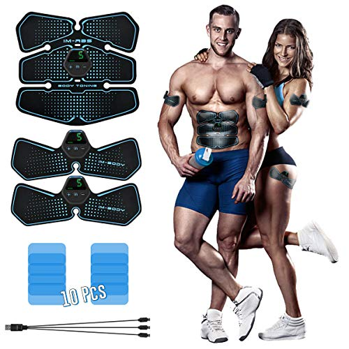 EMS Muskelstimulation Elektrostimulation ABS Trainingsgerät Muskelstimulator, Fast Weight Loss, Tragbarer Bauchmuskeltrainer Geräte, Bauch Muskel Muskelstimulator USB-Aufladung für Herren Damen