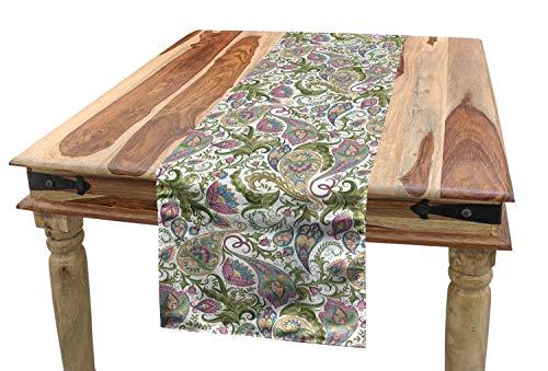 ABAKUHAUS Paisley Tafelloper, Perzische Pickles Sierlijke, Eetkamer Keuken Rechthoekige Loper, 40 x 180 cm, Bleke Bruin Paars Groen