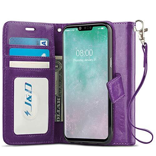JundD Kompatibel für LG G8 ThinQ/LG G8 Hülle, [Handytasche mit Standfuß] [Slim Fit] Robust Stoßfest Aufklappbar Tasche Hülle für LG G8 ThinQ, LG G8 - [Nicht kompatibel mit LG G8S ThinQ] - Violett