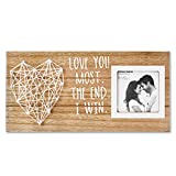 VILIGHT Boyfriend and Girlfriend Couples Romantic Picture Frame - Love You Most The End I Win Gifts for Him Her Rustic Sign for 3x3 Photo