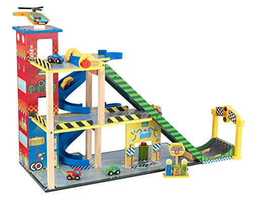 KidKraft 63267 Mega Ramp Wooden Racing Track Set with Helicopter, 5 Cars...