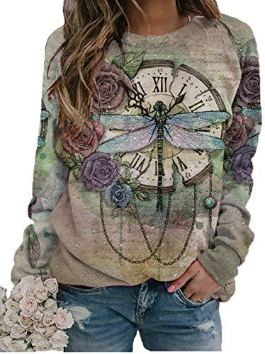 Herbst-Temperament Damen Langarm T-Shirt Retro Libelle Löwenzahn Print Pullover Rundhalsausschnitt Tops