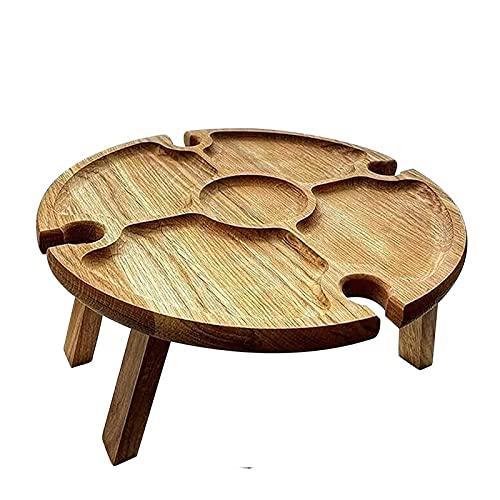 Klappbarer Picknicktisch für den Außenbereich-Holzklappbarer Schreibtisch mit Glashalter Runder Weinglashalter Tragbarer zusammenklappbarer Tisch für Camping Wanderungen Neu