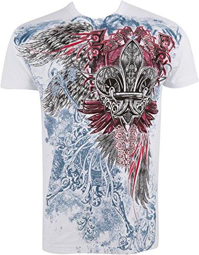 Sakkas 655T Angel Five T-Shirt Mode Hommes Métallique en Relief - Blanc/XX-Large