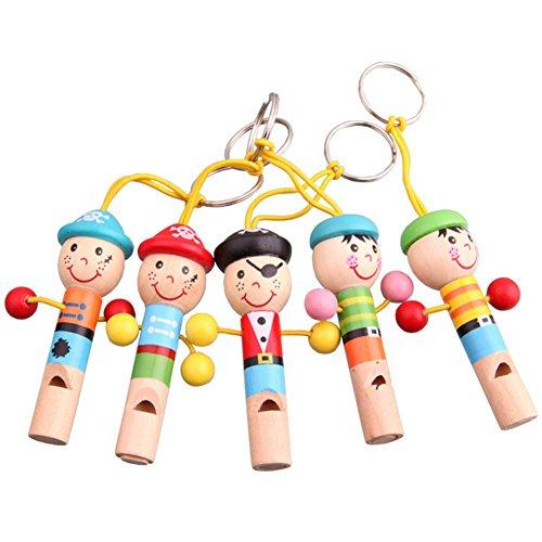 MoGist 1 Stück Kinder Musikinstrumente Zeichentrickfigur Mini Pfeife Piccolo Pfeifeninstrument Spielt Holz Kinder Lernspielzeug Zufällige Farbe