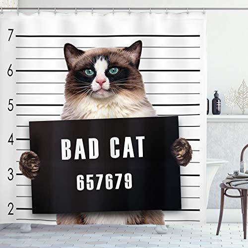 Ambesonne Cat Shower Curtain, Bad Gang Cat in Jail Kitty Under Arrest Criminal Prisoner Hangover Work, Cloth Fabric Bathroom Decor Set with Hooks, 70' Long, Brown Black
