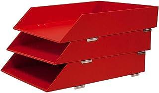 رفوف مجلدات المبردات، 3 طاولات خشبية مكتب وثائق وحرف صينية منظم تكديس طاولة لوازم التنظيم للمكتب أو المنزل (اللون: أحمر)