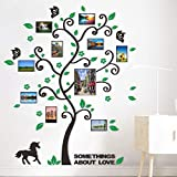 3D Acrylic Photo Frame Tree Wall Decals for Living Room Horse Family Art Memory Decal Home Decor Branches Birds Cute Cartoon Stickers Window Glass Tile Sticker Green Leaves 52x63 inch Left