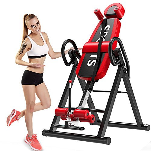 YOLEO Gravity Heavy Duty Inversion Table with Adjustable Headrest & Protective Belt Back Stretcher Machine for Pain Relief Therapy (Red)