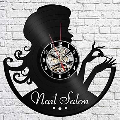 LKJHGU Estudio de Tatuajes Reloj de Pared diseño Moderno Tienda de máquinas de Tatuaje Disco de Vinilo Reloj de Escritorio Colgante de Pared Estilo Moderno Elemento Reloj Hombre