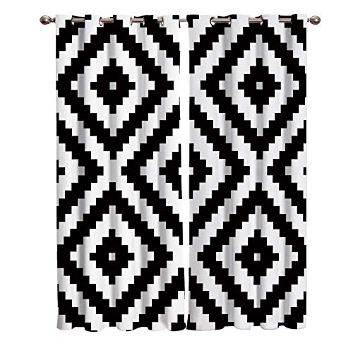 MXYHDZ Opacas Cortinas Dormitorio - Negro Blanco geométrico Moderno - Impresión 3D Aislantes de Frío y Calor 90% Opacas Cortinas - 234 x 229 cm - Salon Cocina Habitacion Niño Moderna Decorativa