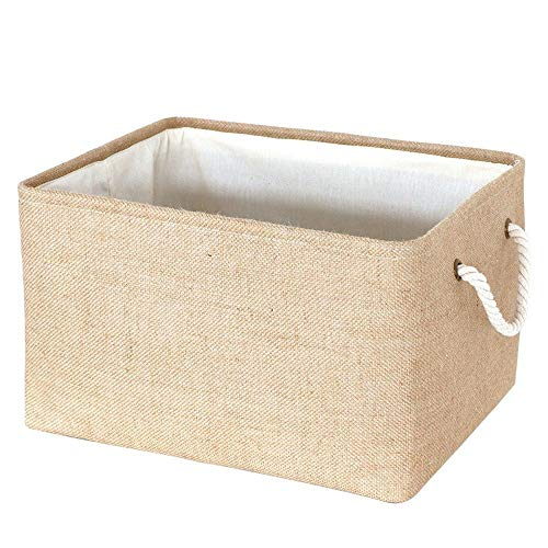 Home organization storage Thickened lined laundry basket for sundries Coarse cotton rope hand basket clothing storage basket (Color : Jute, Size : M)