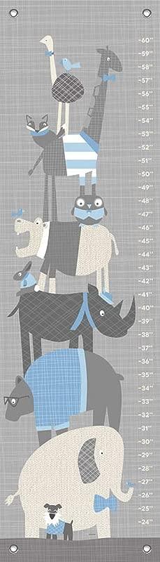Oopsy Daisy Happy Animal Herd Growth Chart Gray Blue 12 X 42