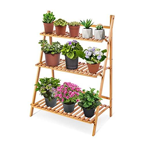 Ejoyous 3 Niveles Escalera Soporte de Flores para Plantas, Soporte de Flores de bambú Estante de...