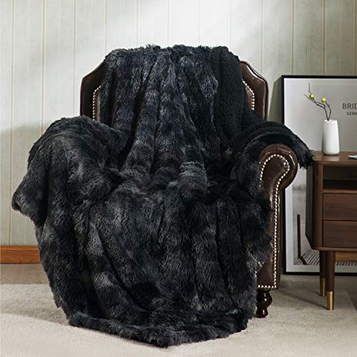 Bedsure Faux Fur Reversible Tie-dye Shaggy Blanket Throw for Sofa, Couch and Bed - Super Soft Fuzzy Fleece Fluffy Blanket,Furry Shag Blanket for Outdoor, Indoor, Camping (60x80 inches, Black)