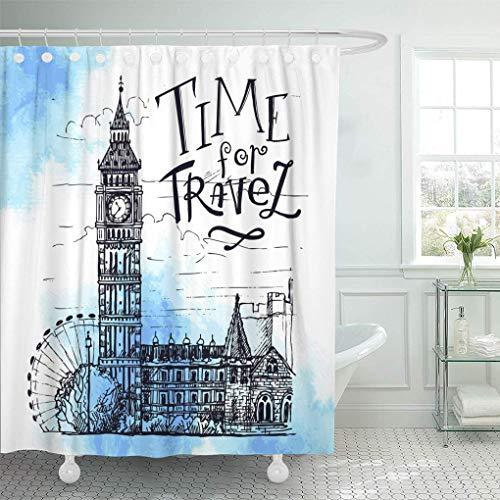 World Map Pattern 71x79/'/' Waterproof Fabric Bathroom Shower Curtain Liner /& Hook